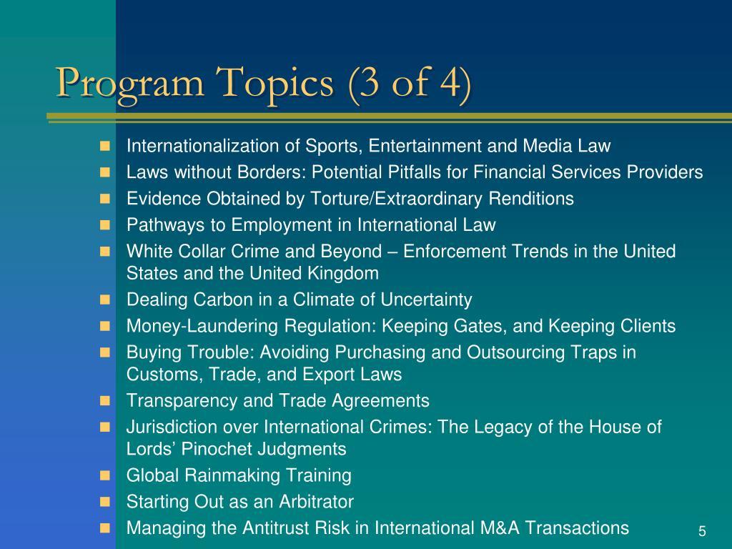 Program Topics (3 of 4)