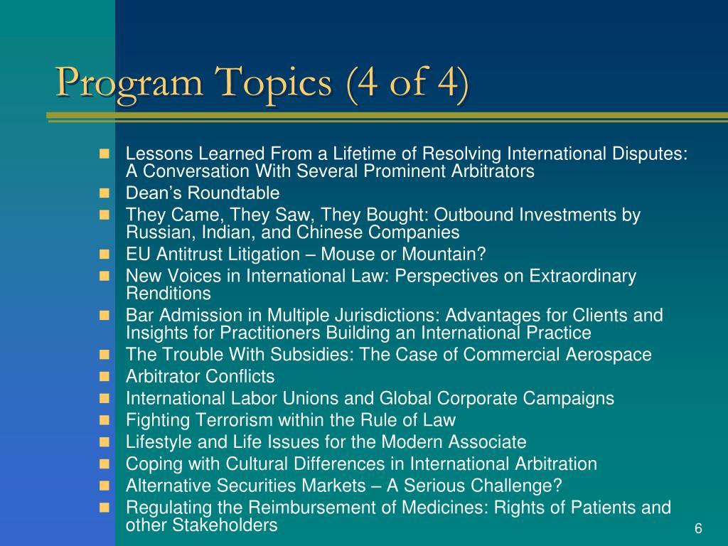 Program Topics (4 of 4)