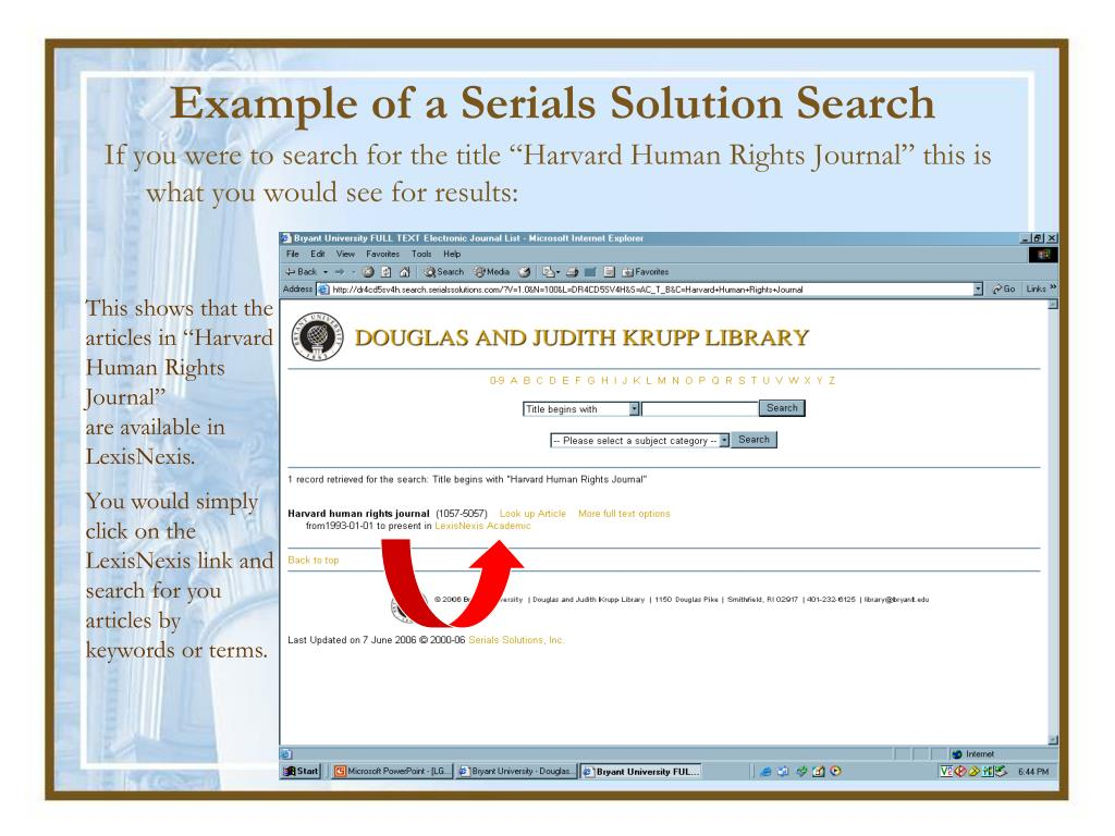 Example of a Serials Solution Search