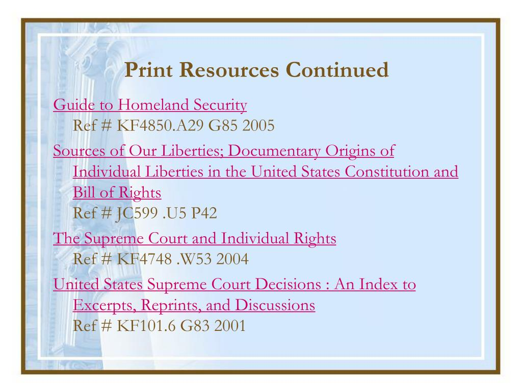 Print Resources Continued