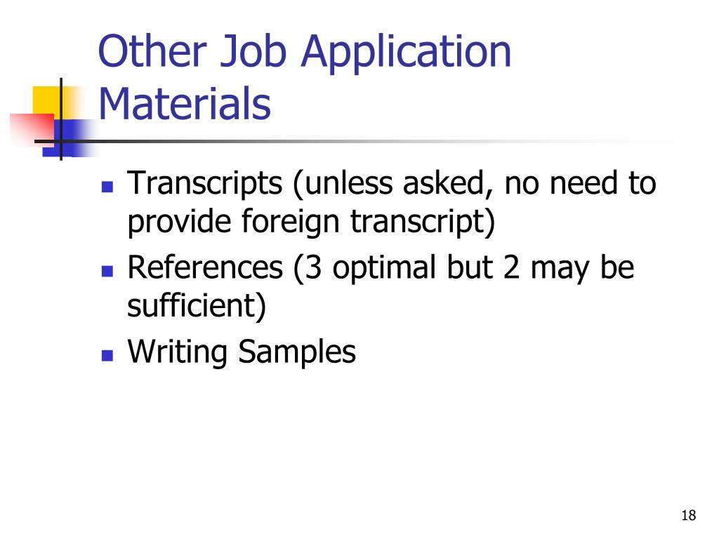 Other Job Application Materials