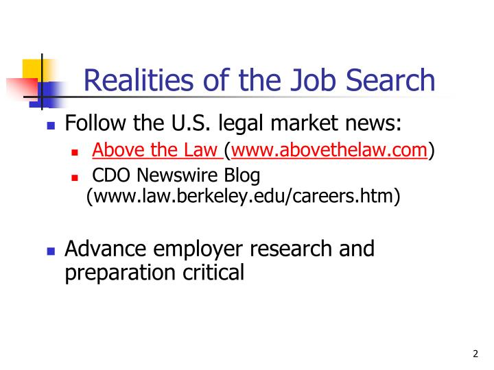 Realities of the job search