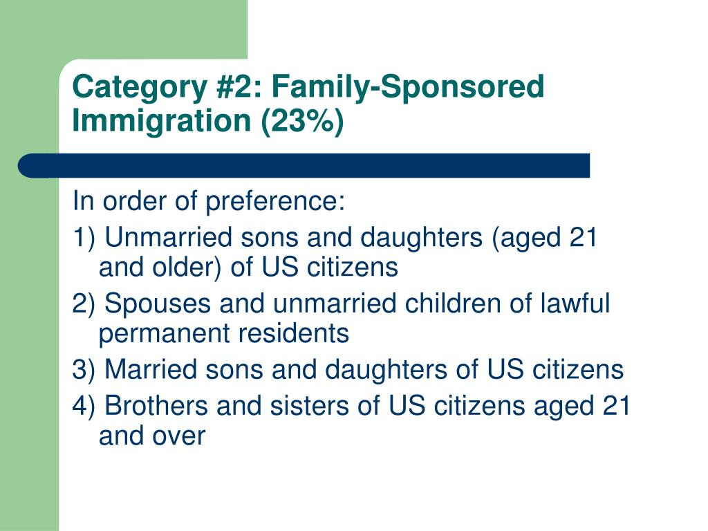 Category #2: Family-Sponsored Immigration (23%)