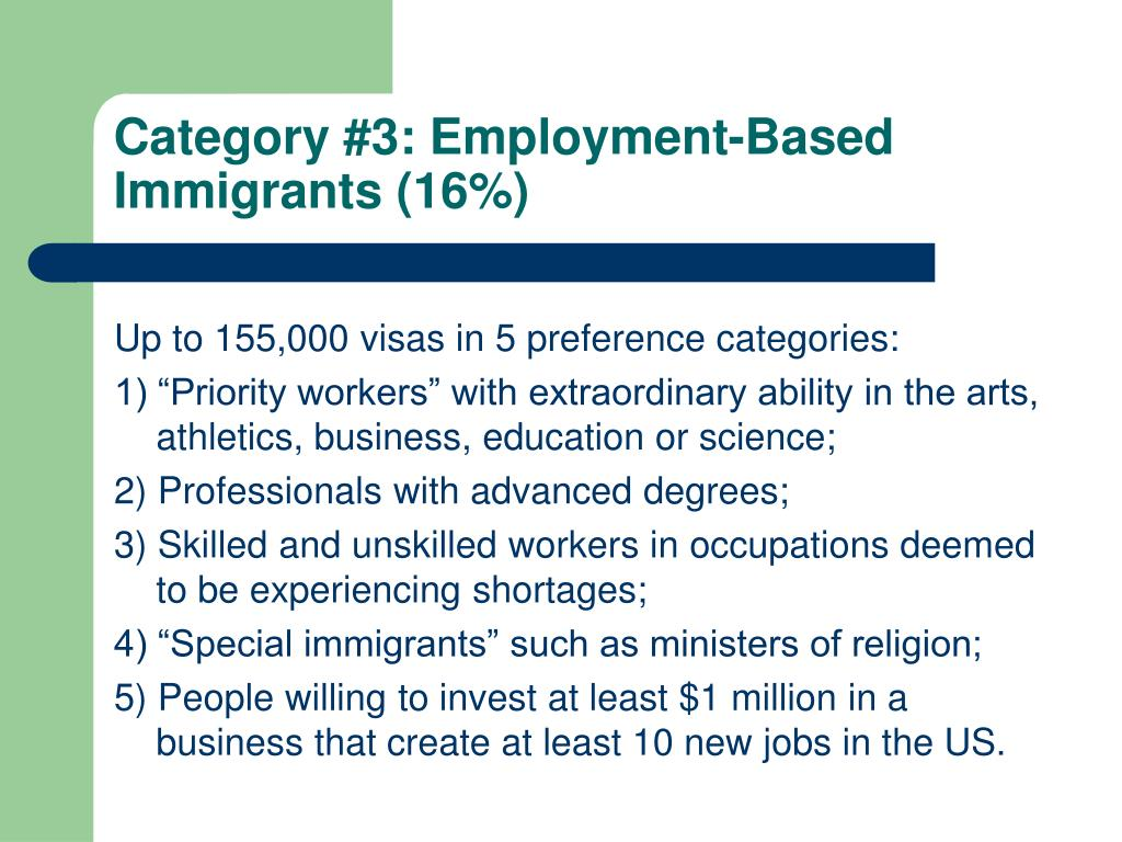 Category #3: Employment-Based Immigrants (16%)