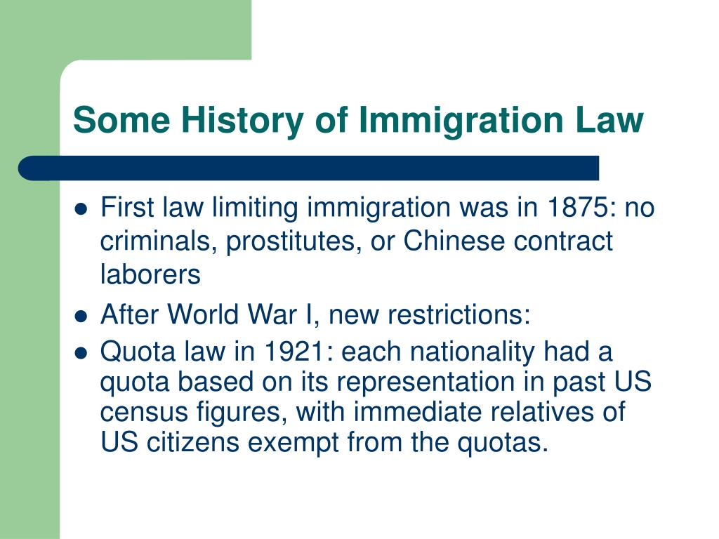 Some History of Immigration Law