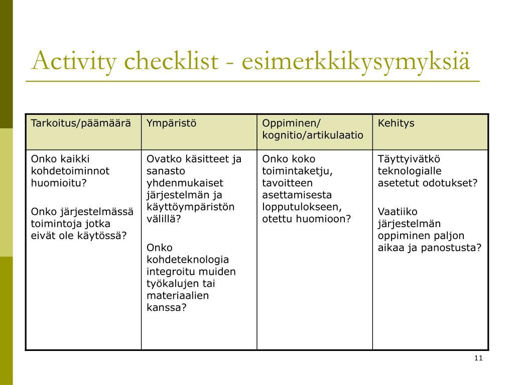 Activity checklist - esimerkkikysymyksiä