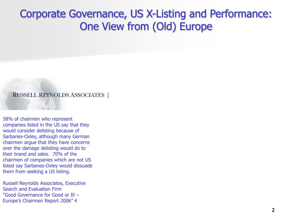Corporate Governance, US X-Listing and Performance: