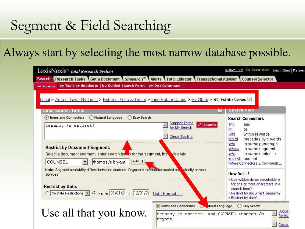 Segment & Field Searching