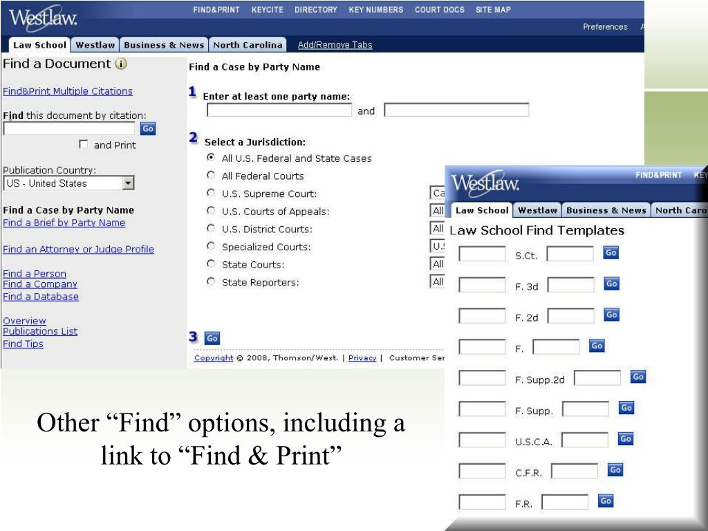 "Other ""Find"" options, including a link to ""Find & Print"""