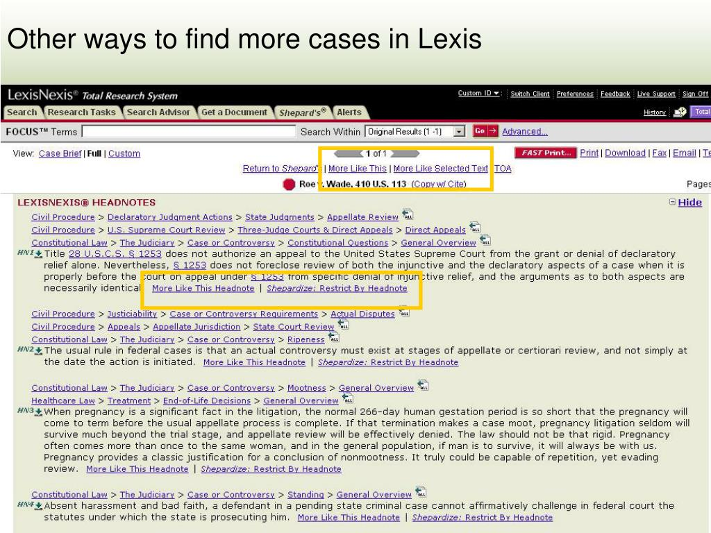 Other ways to find more cases in Lexis