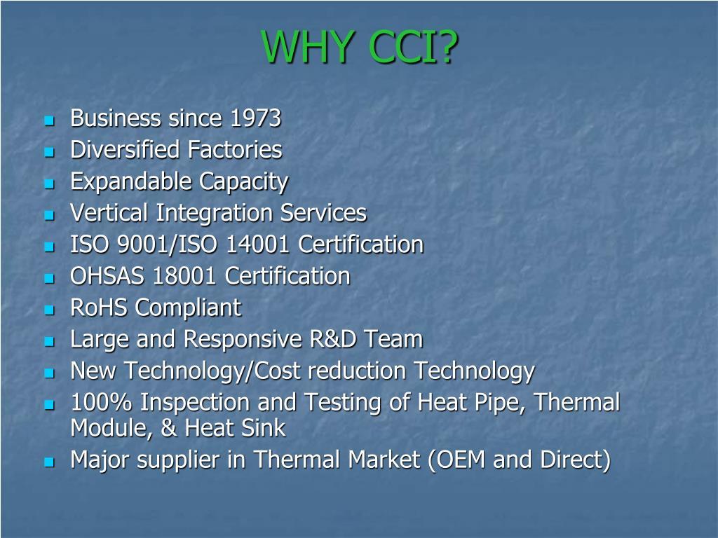WHY CCI?