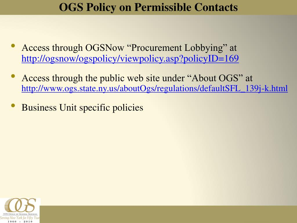 "Access through OGSNow ""Procurement Lobbying"" at"