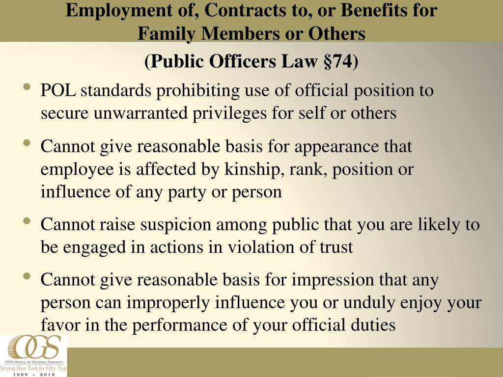 Employment of, Contracts to, or Benefits for