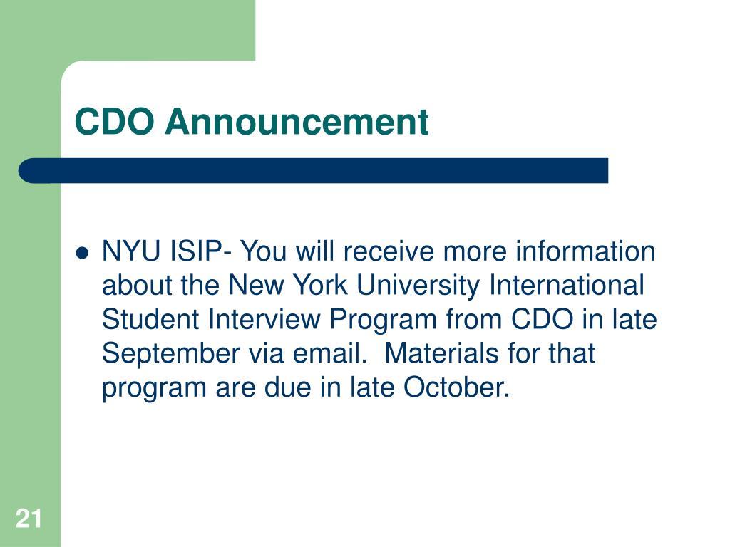 CDO Announcement