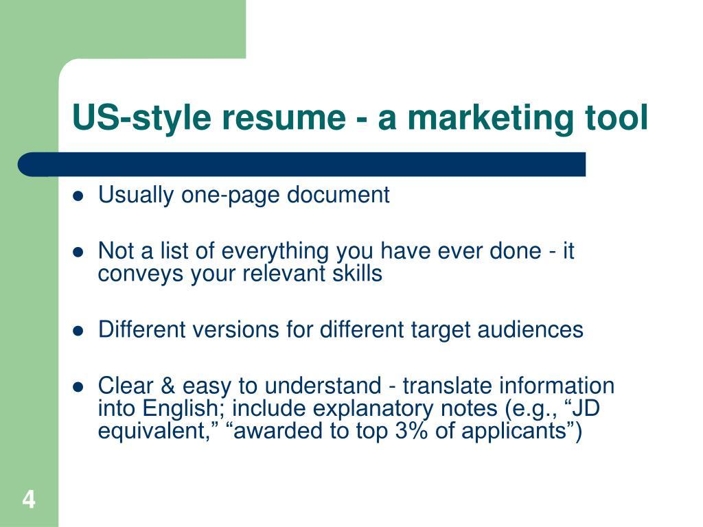 US-style resume -