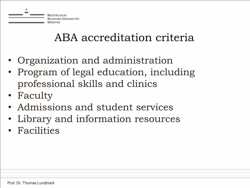 ABA accreditation criteria