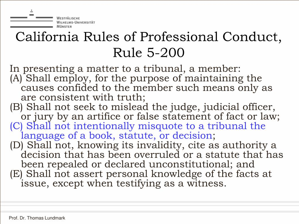 California Rules of Professional Conduct, Rule 5-200