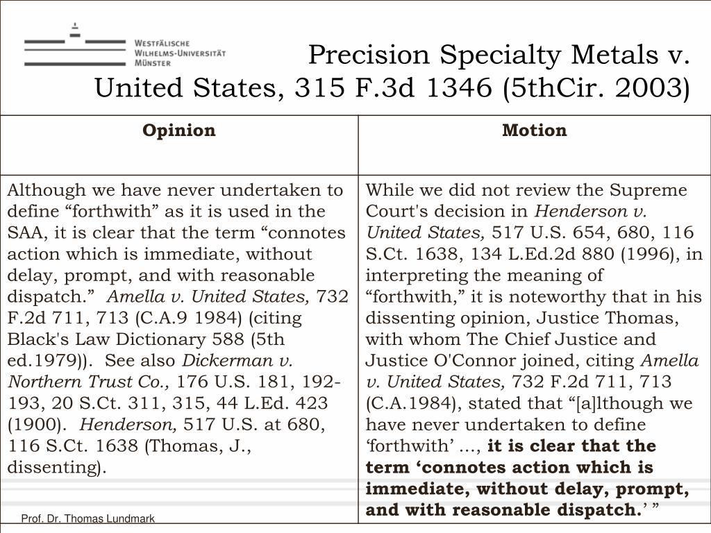 Precision Specialty Metals v.