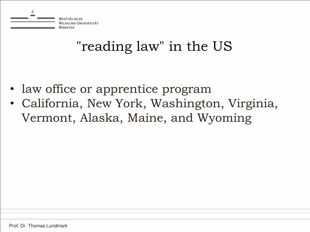 """reading law"" in the US"