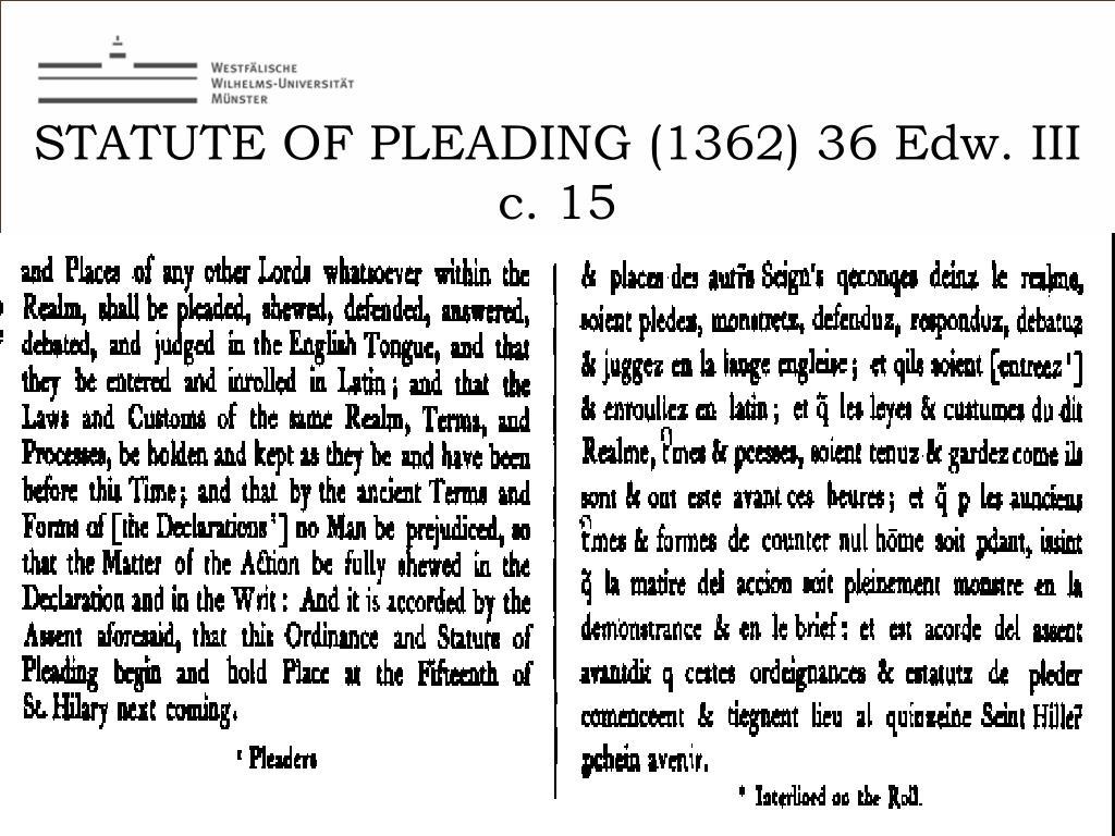 STATUTE OF PLEADING (1362) 36 Edw. III c. 15