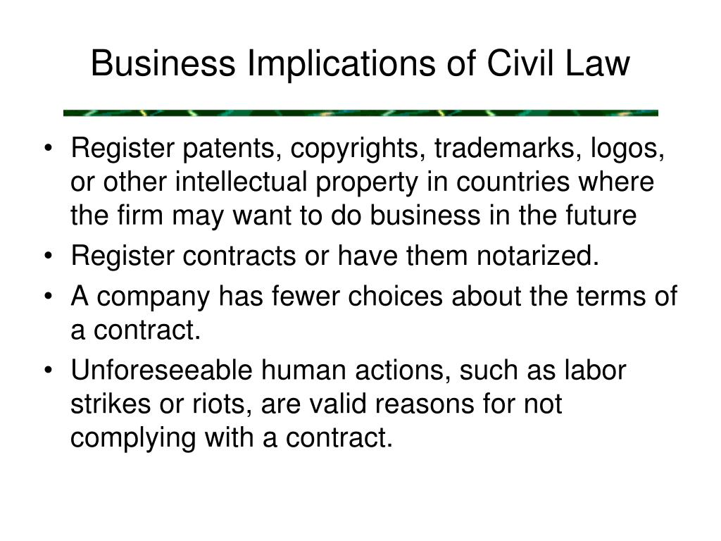 Business Implications of Civil Law
