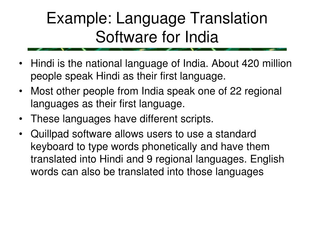 Example: Language Translation