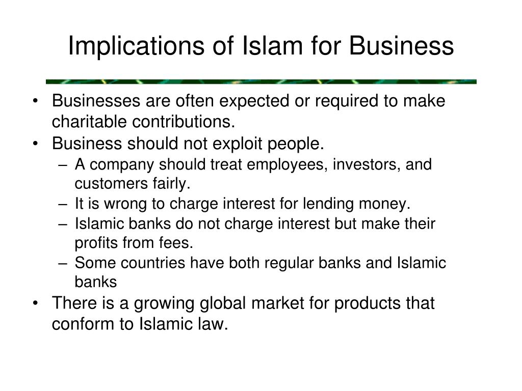Implications of Islam for Business