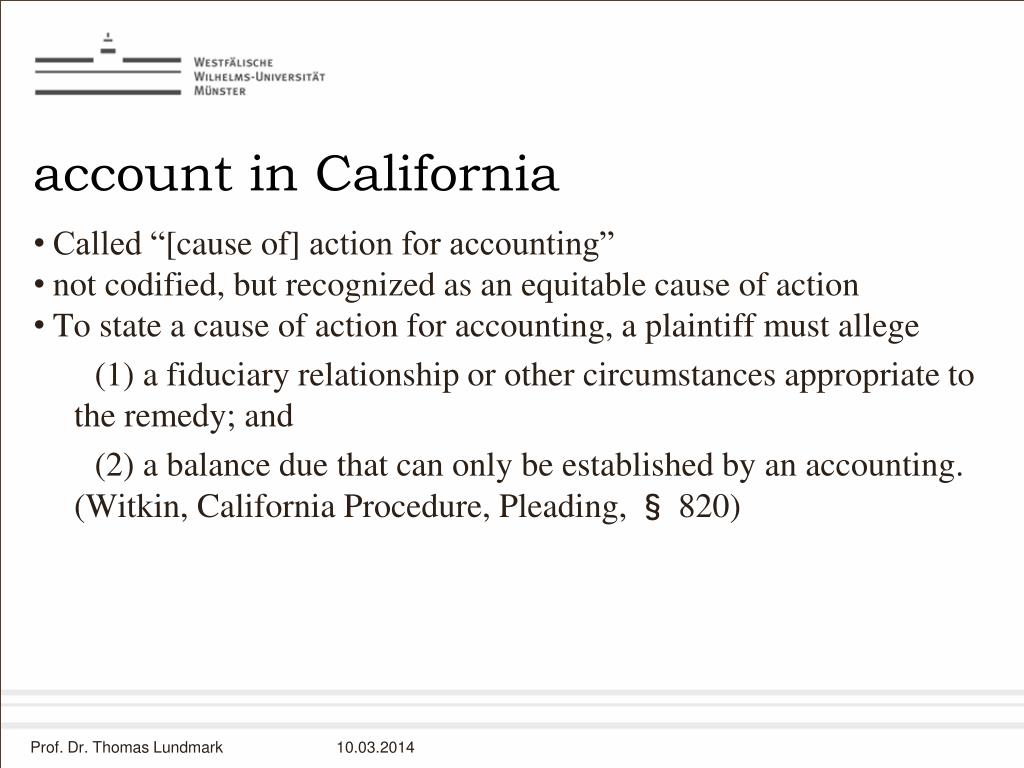 account in California
