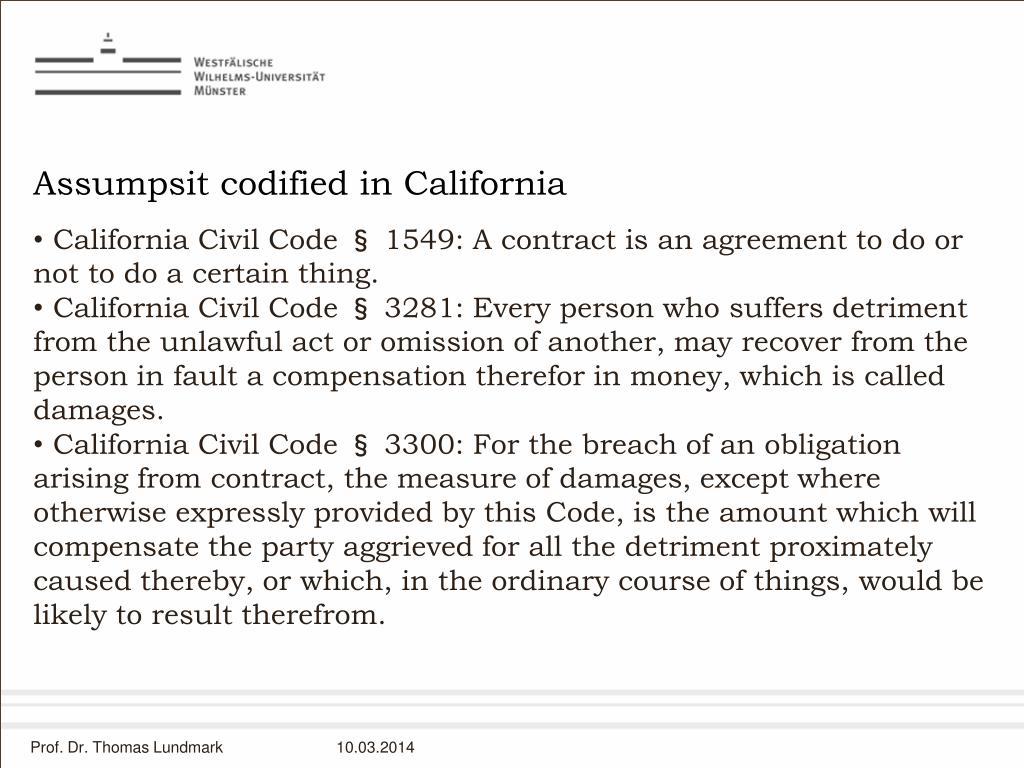 Assumpsit codified in California