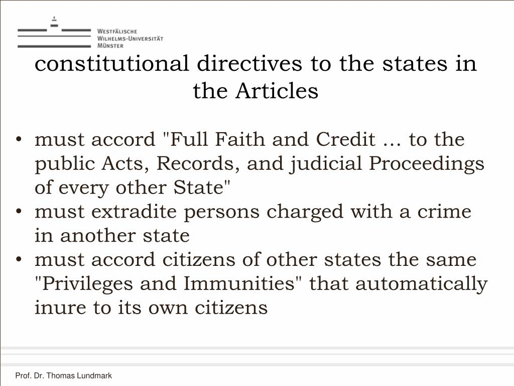 constitutional directives to the states in the Articles