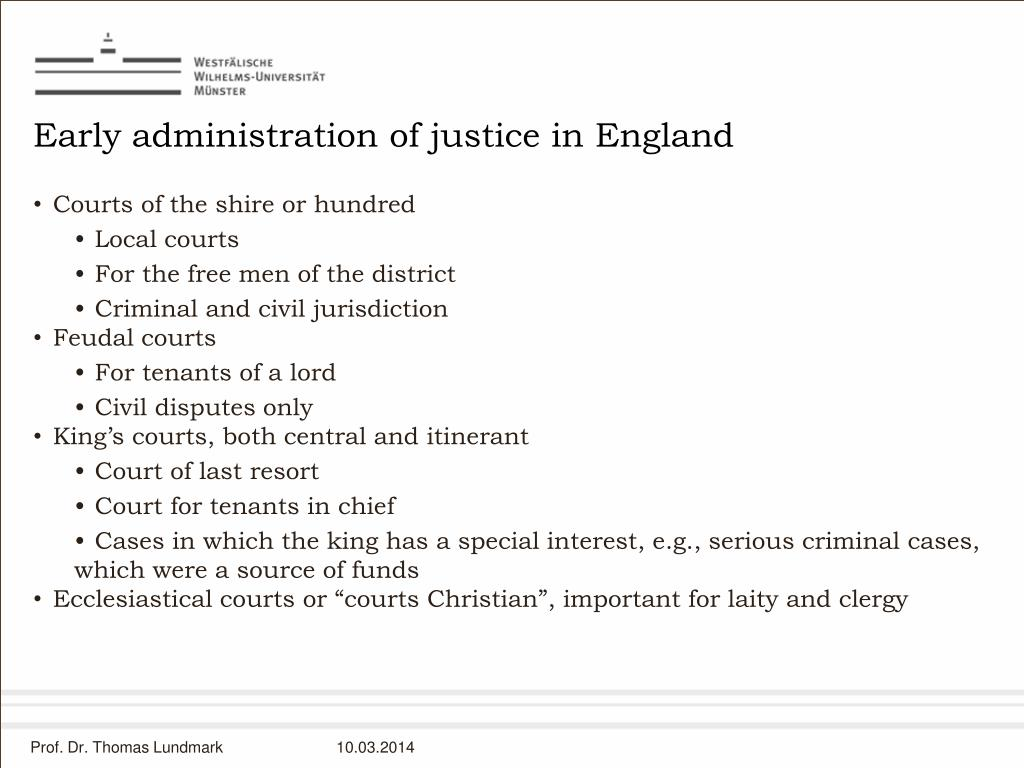 Early administration of justice in England