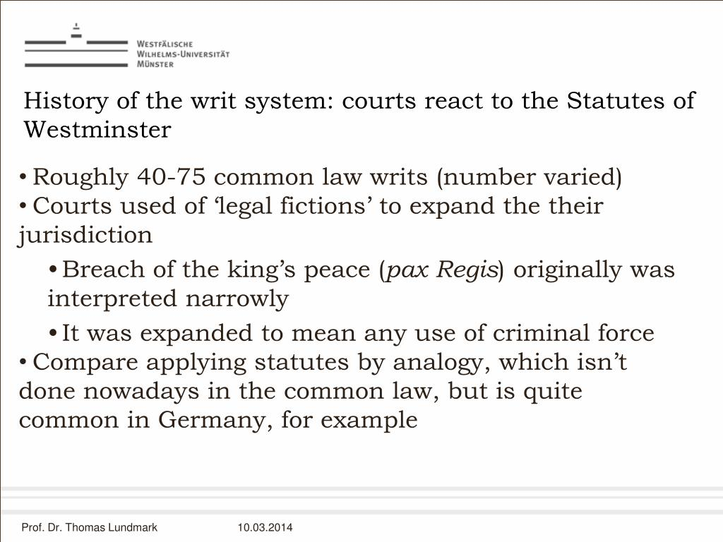 History of the writ system: courts react to the Statutes of Westminster