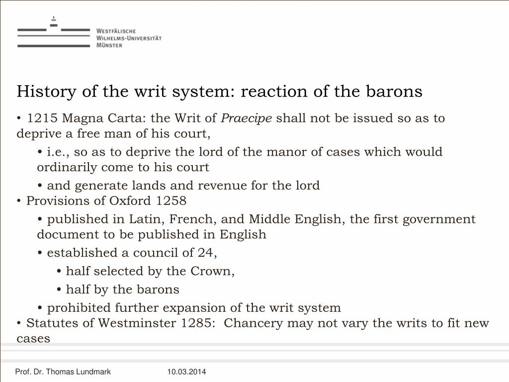 History of the writ system: reaction of the barons