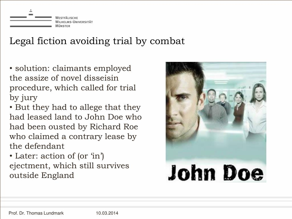 Legal fiction avoiding trial by combat