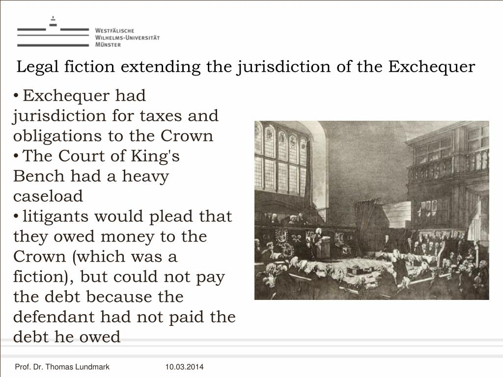 Legal fiction extending the jurisdiction of the Exchequer
