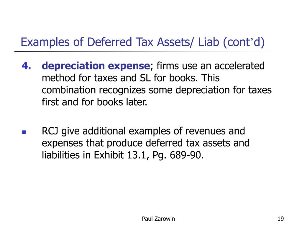 Examples of Deferred Tax Assets/ Liab (cont