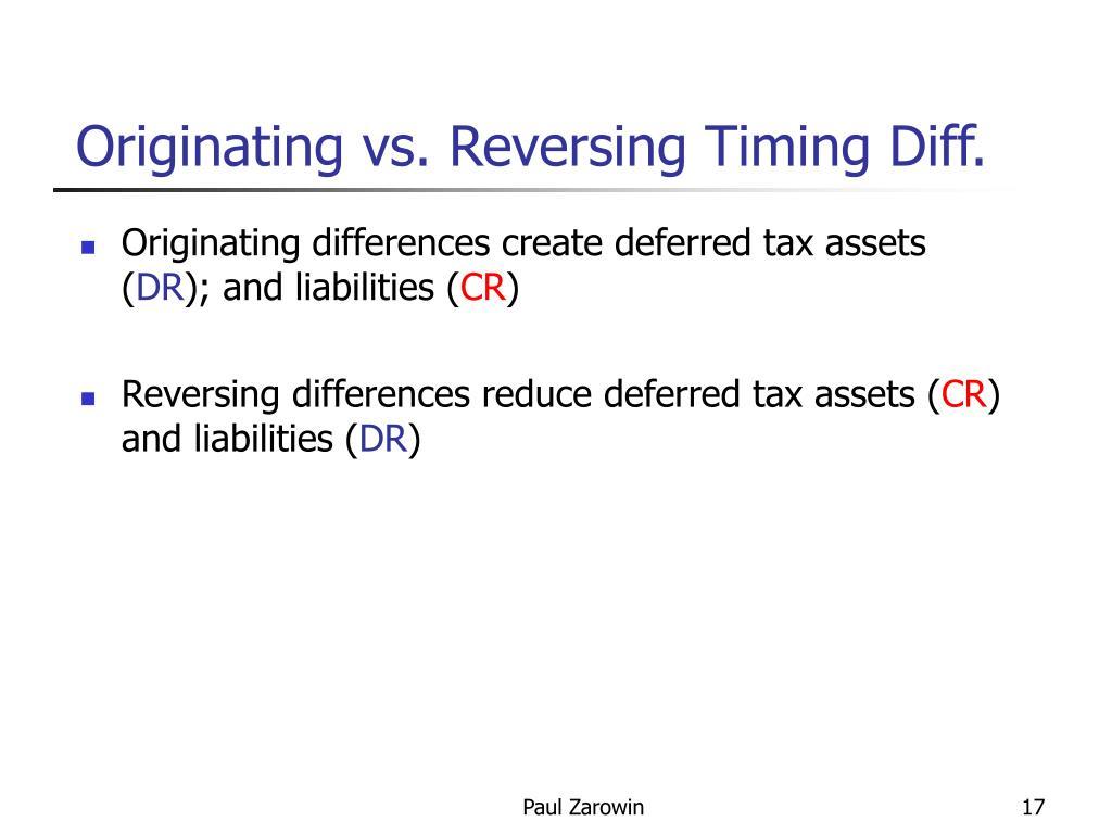 Originating vs. Reversing Timing Diff.