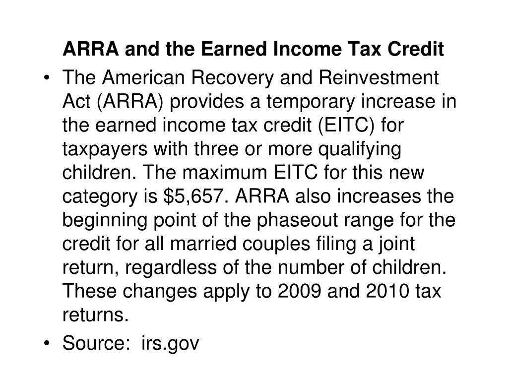 ARRA and the Earned Income Tax Credit