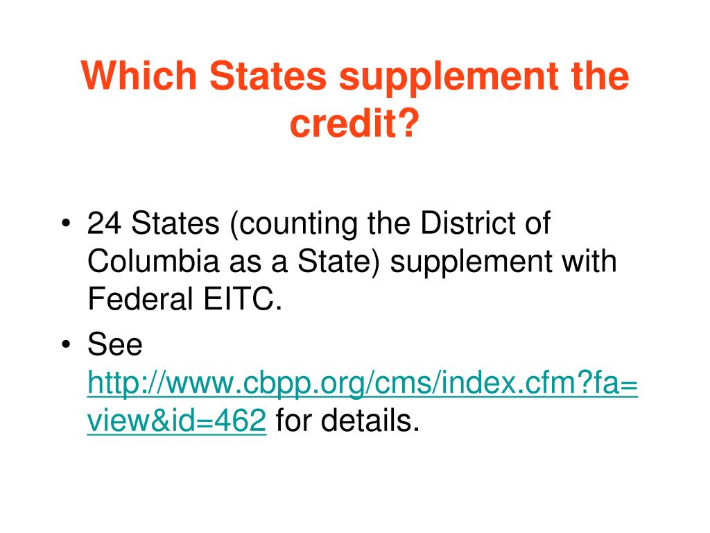 Which States supplement the credit?