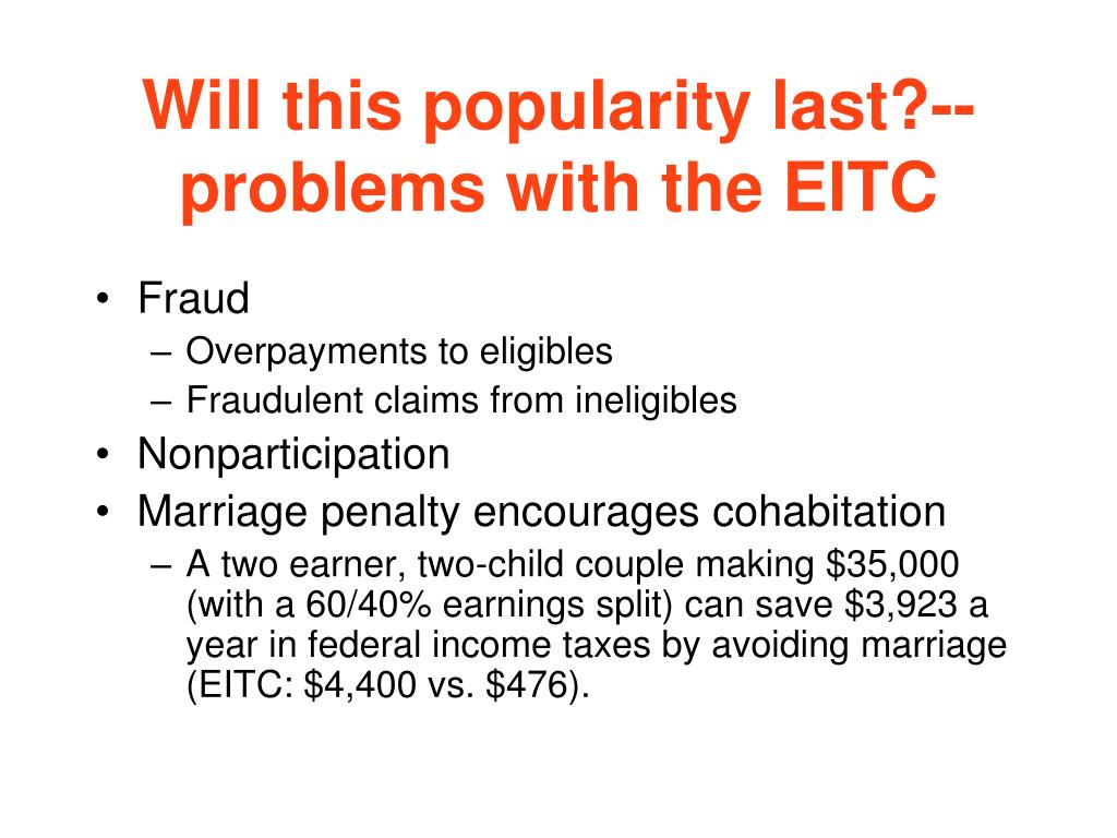 Will this popularity last?-- problems with the EITC