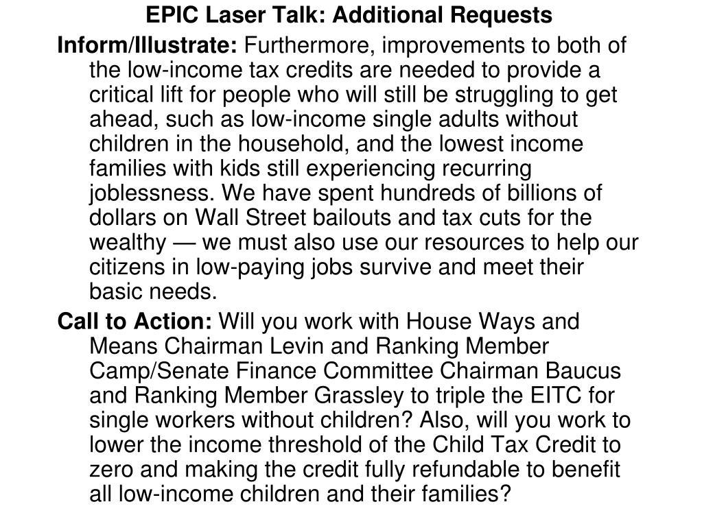 EPIC Laser Talk: Additional Requests
