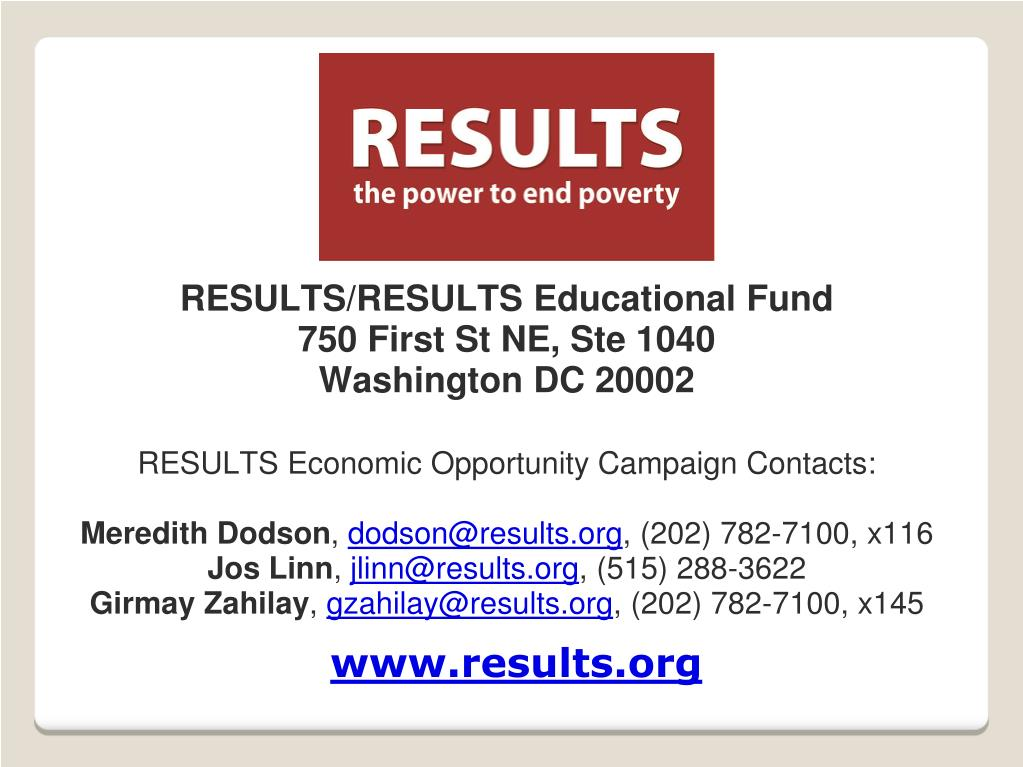 RESULTS/RESULTS Educational Fund