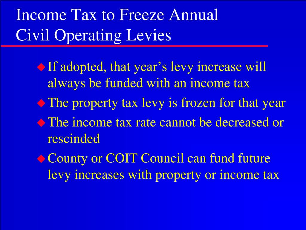 Income Tax to Freeze Annual