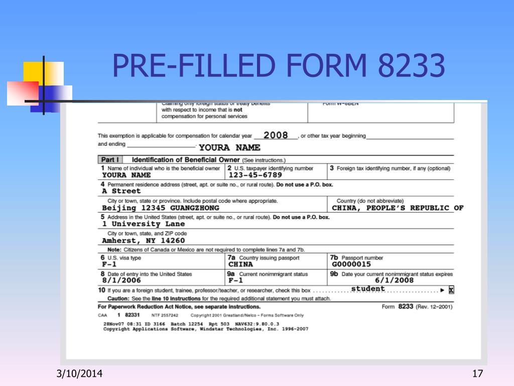 PRE-FILLED FORM 8233