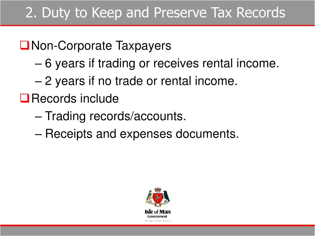 2. Duty to Keep and Preserve Tax Records