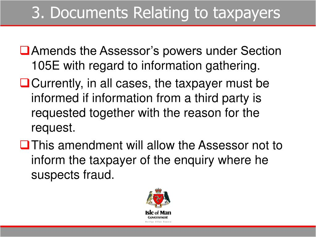 3. Documents Relating to taxpayers