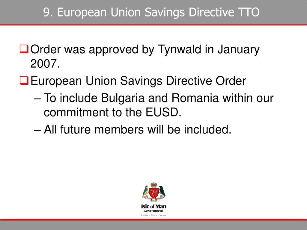 9. European Union Savings Directive TTO