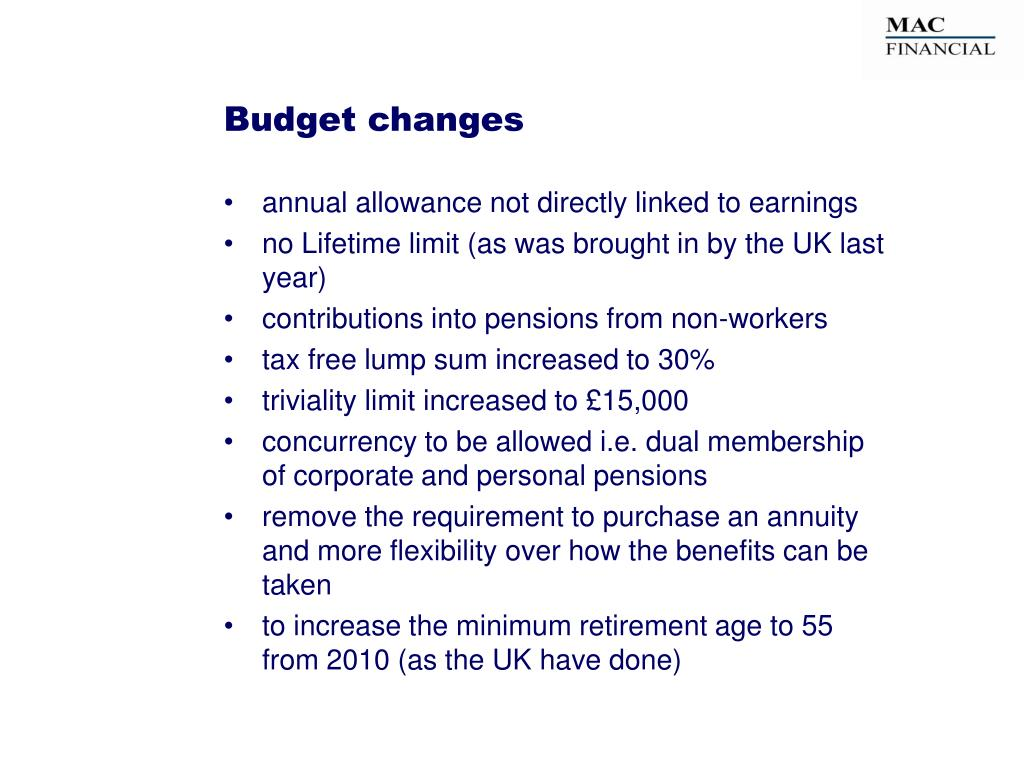 Budget changes