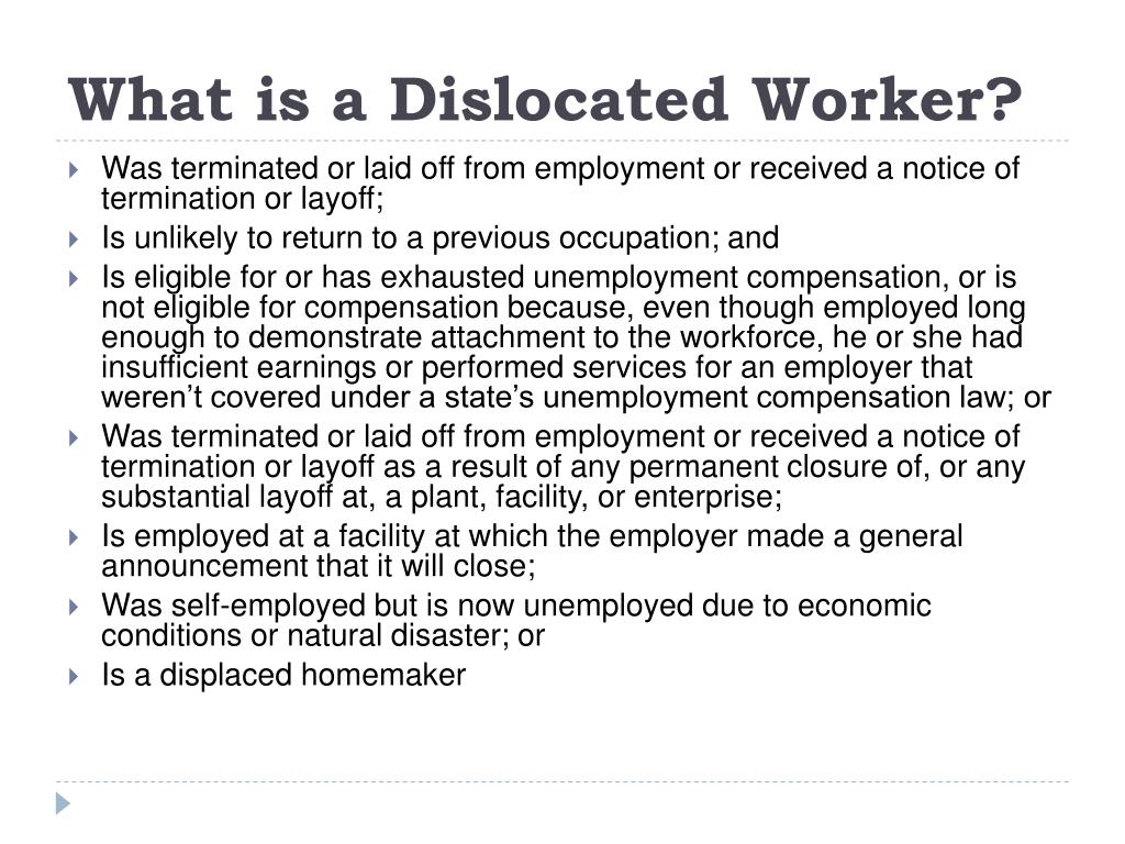 What is a Dislocated Worker?