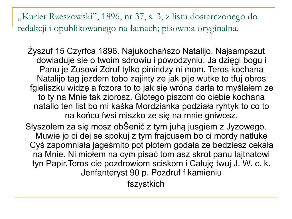 """""""Kurier Rzeszowski"""", 1896, nr 37, s. 3, z listu dostarczonego do redakcji i opublikowanego na łamach; pisownia oryginalna."""